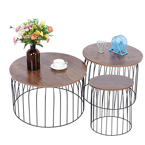 Greensen Metal Wire Coffee Tables, Nesting Coffee Table Set, 3Pcs Side Table Set Nesting Coffee Table with Open Base Design Home Living Room Sofa Round Table Furniture