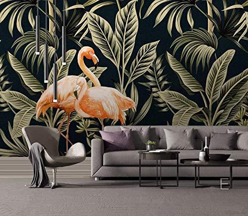 Muurschildering Tropische Plant Hoge Flamingo Behang Beeld Niet-geweven Poster Woonkamer Decor Art 450CMx300CM