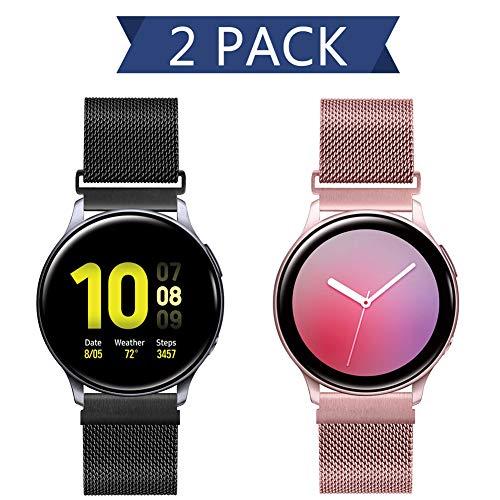 20mm Correa Reloj Malla Acero Inoxidable para Samsung Galaxy Watch 42mm/Active2 44mm 40mm /Gear Sport/Gear S2 Classic/Garmin Vivoactive 3, Correa Metal Deporte Bandas Repuesto (20mm, Negro+Oro Rosado)