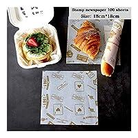 RDBH 100個耐油性ワックスペーパーのための食品ラッパー紙パンのサンドイッチバーガーフライドポテトラッピングベーキングツールファーストフードパンオイルペーパー (Color : B4.100 sheets)