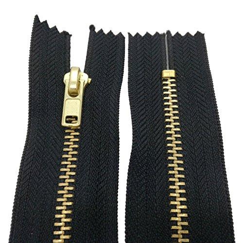 Starlet24 10-25 cm Metall Reißverschluss 4 mm Zipper Nicht teilbar für Jeans Leder Taschen Geldbörse Hose Schwarz 20 cm