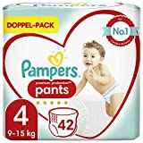 Pampers Premium Protection Pants Taille 4, 42 couches de 9 à 15 kg, confort et protection avec les culottes Pampers pour un enfilage facile.