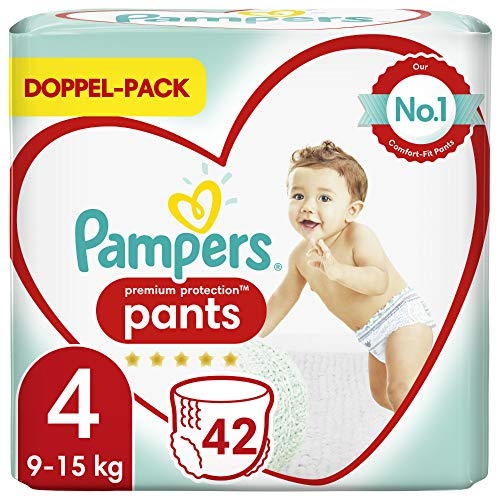 Pampers Premium Protection Pants Größe 4, 42 Höschenwindeln, 9kg-15kg, Komfort und Schutz mit den Höschenwindeln von Pampers für einfaches Anziehen