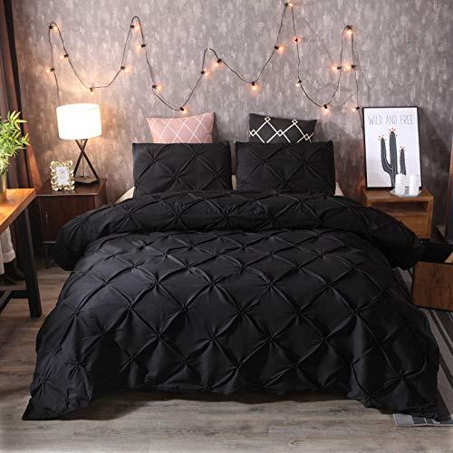 HUTUDA Juego de cama de 2/3 piezas con plisado de lujo, funda de edredón plisado, monocolor, geométrica, funda de edredón con funda de almohada, microfibra (2,135 x 200 cm)