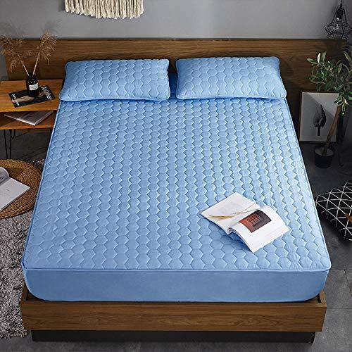 XGguo Protector de colchón - Protector de colchón antialérgico Sábana de una Sola Pieza Transpirable Engrosada a Prueba de Polvo-Cubo de Agua Blue_150cmx190cm