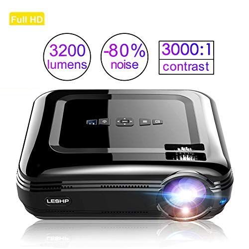 LED Beamer HD 3200Lumen LESHP Video Projektor Heimkino Beamer Full HD Multimedia Unterstützung, HDMI/AV/USB/VGA/ Micro SD/ 100-240V Anschlüsse