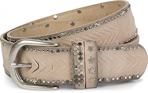 styleBREAKER cinturón de remaches con motivo cortado con remaches, piedras de estrás y remaches de estrellas, cinturón «vintage», acortable, señora 03010081, tamaño:100cm, color:Crema-Beige