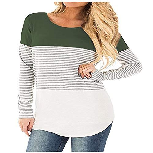 SFYZY Damen Loose Hoodie Tricolor Patchwork Sweater Top Gestreifter Langarm Hoodie Pullover Langarm Pullover