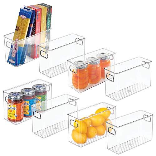 mDesign Set da 8 contenitori per Frigorifero e dispensa in plastica – Contenitore per Alimenti freschi o confezionati – Pratico Contenitore frigo per latticini, Frutta e Altri Alimenti – Trasparente