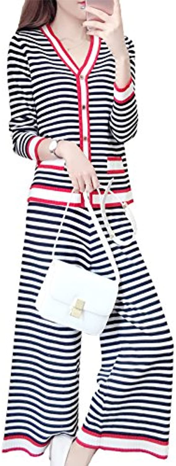Xuanytp Dresses Striped Wool Knit Cardigan V-Neck Two-Piece Suit Casual Dress Thin Female