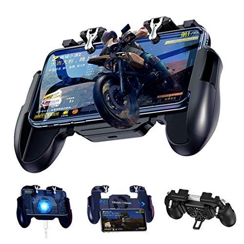 BorlterClamp PUBG Mobile Game Controller, mit Kühlung Ventilator und Empfindlich Trigger Joysticks, Gamepad für PUBG/Rules of Survival, Kompatibel für 4,7-6,5 Zoll Bildschirm Android- und iOS-Telefone