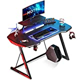 MOTPK 39 inch Ergonomic Gaming Desk Z-Shaped Sturdy Computer Table, Gaming Workstation Home Office Desk with Monitor Stand Cup Holder and Headphone Hook