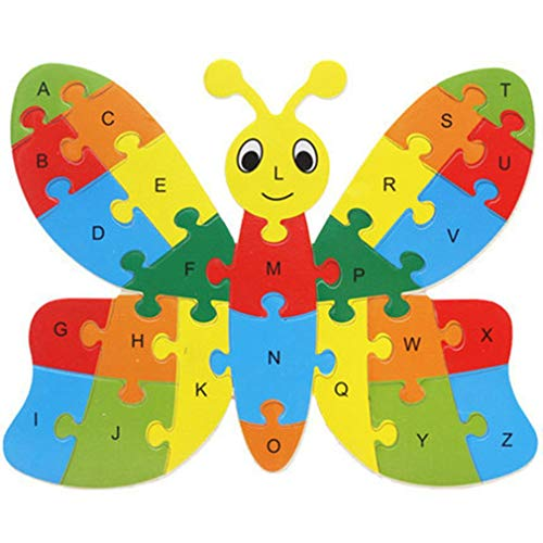 26 stuks houten puzzel dieren alfabet puzzel speelgoed herkenning leren educatieve blokken intelligentie teelt, vlinder