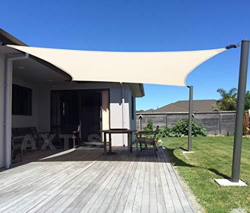 AXT SHADE Toldo Vela de Sombra Cuadrado 2 x 2 m, protección Rayos UV y HDPE Transpirable para Patio, Exteriores, Jardín, Color Beige