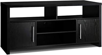 MODAA Wood Universal TV Stand with Storage Cabinets for Flat Screen, Living Room Entertainment Unit Center, Black