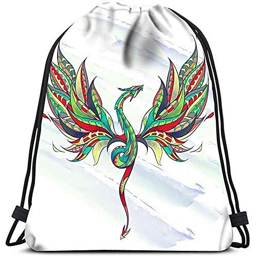 Dingjiakemao Trekkoord Opslag Tassen Gedessineerd Vliegende Draak Op De Grunge Reptiel Tattoo Ontwerp Draagbare Schouder Tassen Reizen Sport Gym Bag