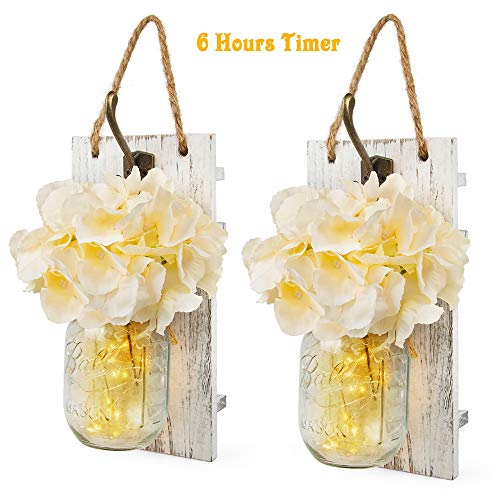 Wall Sconces Mason Jars Sconces Wall Decor with Timer LED Fairy Lights, Farmhouse Rustic Wall Decor with Bronze Retro Hooks, Silk Hydrangea Design for Home Decorations Set of Two