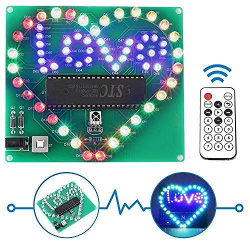 IS Icstation Heart Love Led Light Soldering Practice Remote Control DIY RC Light Electronics Projects Kit