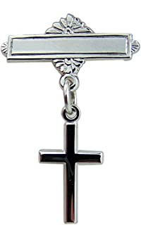 Rhodium Plated Baby Bar Pin with Sterling Silver Cross Charm, 11/16 Inch