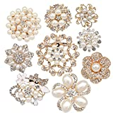 Lot 9pcs Rose Gold-tone Rhinestone brooches, eGlomart Big Pearl Crystal wedding...