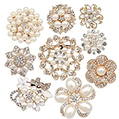 "Size (approx): range from 1"" to 3"" (25mm to 80mm) High Quality Sparkling rhinestone pearl brooches Material: Rose gold plated metal base with high quality clear rhinestones and off-white pearls Excellent assortment for base and fillers of your brooch..."