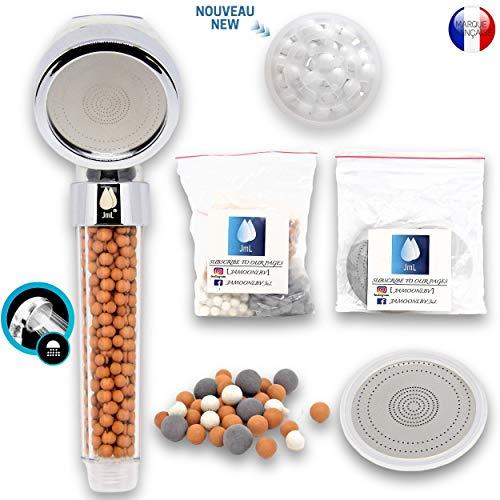 JaMoonLBV JmL® Französische Marke - Anti-Kalkstein-Duschkopf - Hochdruck-Duschkopf - Wassersparende Badewannendusche - Inklusive Extra Mineralperlen-Nachfüllung