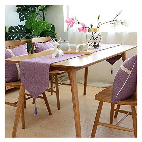 SHENGLI Mantel con bandera de mesa, color sólido, algodón, lino, moderno, minimalista, mesa de centro (color: morado, tamaño: 30 x 210 cm)