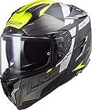 LS2 - Casco integral para moto, Challenger Allert, titanio, amarillo, M