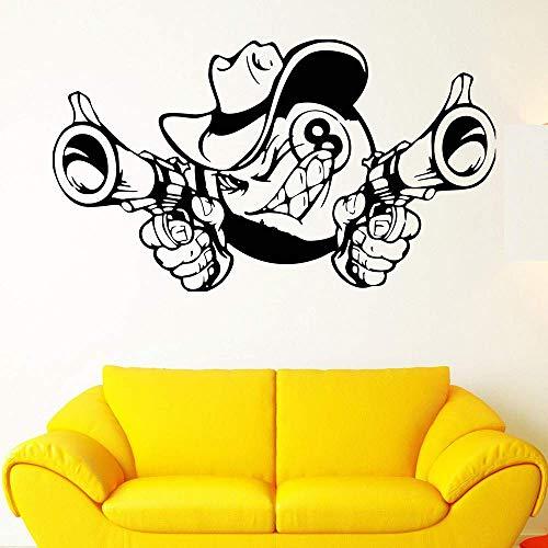 Wandtattoo Wandaufkleber Acht Ball Animation Pistole Hut Comic Vinyl Wandtattoo Aufkleber Home Decoration Diy Kunst Wandbild Wallpaper 57X100Cm Wandaufkleber Kinder