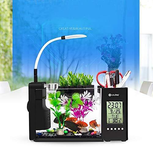 Nameo USB Desktop Aquarium, Mini Fish Tank with Water Running LED Pump Light Calendar Alarm Clock+Pen Container (Black)