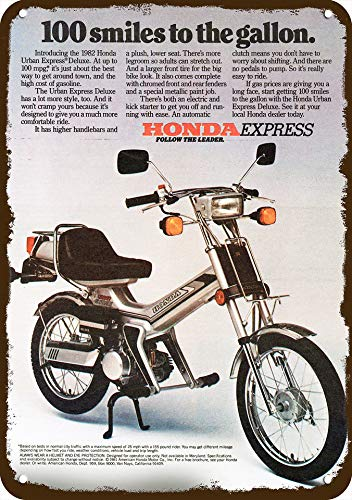 Odeletqweenry Aluminium teken Maatregelen 7 X 10 Tin Sign, 1982 HONDA URBAN EXPRESS DELUXE SCOOTER MOTORCYCLE Vintage Look METAAL SIGN