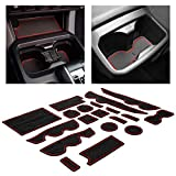 CupHolderHero for Toyota Tacoma Accessories 2016-2020 Premium Custom Interior Non-Slip Anti Dust Cup Holder Inserts, Center Console Liner Mats, Door Pocket Liners 19-pc Set (Double Cab) (Red Trim)