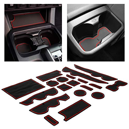 CupHolderHero fits Toyota Tacoma Accessories 2016-2021 Premium Custom Interior Non-Slip Anti Dust Cup Holder Inserts, Center Console Liner Mats, Door Pocket Liners 19-pc Set (Double Cab) (Red Trim)