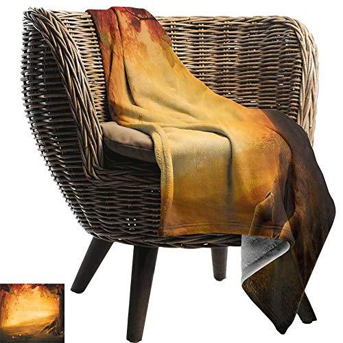 ZSUO picknickdeken waterdicht waterval, Mysterieuze vallei met paddestoelen en herfstbladeren Vogelhuis Herfstbos, goudsbloem Rood Bruin Gezellige en duurzame Fabric-Machine Wasbaar