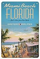 フロリダ州マイアミビーチ-ブリキサインヴィンテージノベルティファニーアイアンペインティングメタルプレート