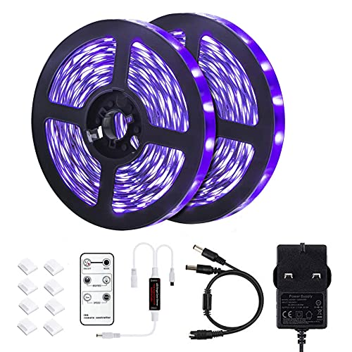 LYGKJ 33ft UV LED Black Lights Strip Kit with Remote Control, 600 Units Lamp Beads, 12V/3A Flexible Blacklight Fixtures for Fluorescent Dance Party Body Paint Stage Lighting (10M)