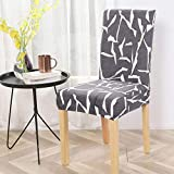 Lukzer 1PC Elastic Chair Cover (Grey & White Design) for Dining Chair Redecorate Old Chairs/Stretchable Removable & Washable Protective Seat Slipcover Home Restaurant Office Decor