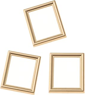 Injoyo 1/12 Scale Gold Photo Frame Dollhouse Miniature Rooms Wall Decoration, Pack of 3