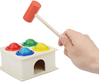 Kulai Kids Hammering Game Wooden Hammer and Balls Colorful Ball Hammer Box Children Early Learning Educational Toy 1 Pcs