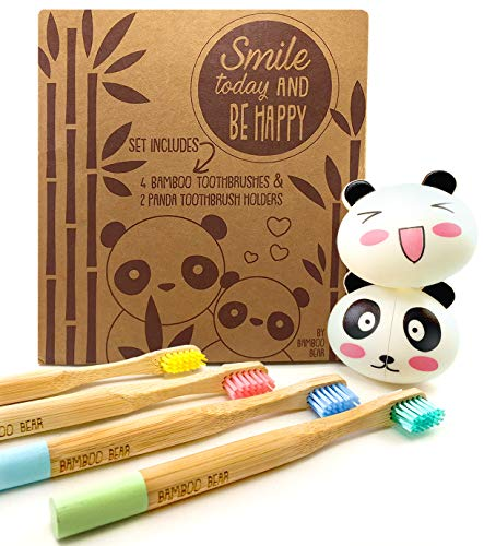 Bamboo Toothbrush Set for Kids with 4 Biodegradable Toothbrushes & 2 Panda Suction Toothbrush Holders, Eco Friendly, Organic Brushes for Children w Extra Soft Bristles, 6 PC Set, Perfect Easter Gift