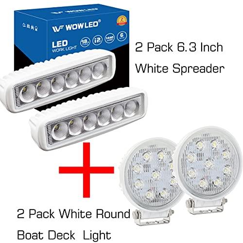 WFPOWER Marine LED Light Spreader for Boats, 2 Pack 6.3inch Light + 2 Pack Round 27W Boat Light Marine Spotlights Waterproof Deck Dock Lights for Boat Fishing Truck SUV ATV 12V 24V