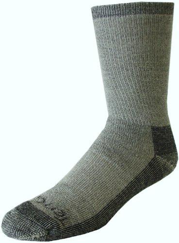 Terramar Men's Merino Hiker Crew Socks (2 Pack), Large, Grey Heather