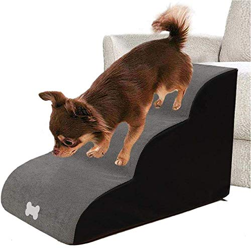 LHYLHY Dog Stairs3 Steps Lightweight Pet Stairs for Dogs &CatsHigh Beds and Couches Pet LadderDog Ramp Sofa Bed LadderDog Steps for Bed-Gray