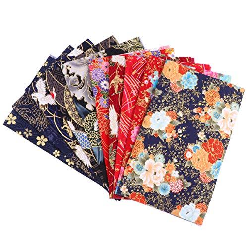 NONE 10 piezas de tela de algodón por metros, paquete de tela acolchada, cuadrados, protector bucal, patchwork, tela, paquete de telas con impresión de flores, para coser para niños principiantes