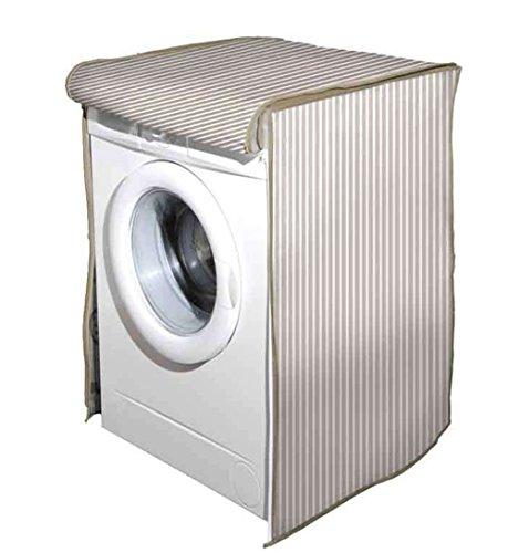 Vetrineinrete Coprilavatrice con Chiusura a Zip per lavatrici con carico Frontale Telo Protettivo Copertura per Lavatrice con Fantasia a Righe Beige 60x60x80 cm G57