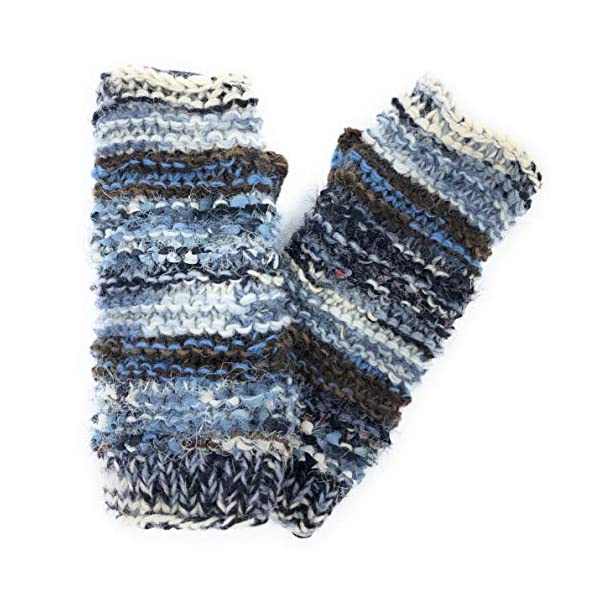 Hand Knit Winter Fingerless Striped Texting Gloves Warm Wool Fleece Lined