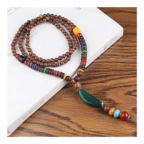 chenyou Colgante retro étnico nepalés de cuerno de loto con colgante de rueda de oración para mujer, collar de cuentas de madera de ala de pollo, cadena de regalo (color de metal: Style7)