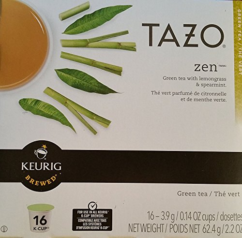 Tazo Zen K-Cup Pods For a Calming Tea Green Tea Moderately Caffeinated Morning Drink 16 K-Cup Pods Packaging May Vary