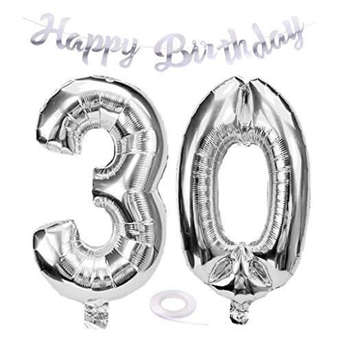 SNOWZAN Luftballon 30. Geburtstag Silber Mädchen Zahl 30 Riesen Folienballon Helium Nummer 30 Luftballon Große Zahlen 30 Jahre XXL 30. Happy Birthday Banner Girlande 32 Zoll Riese Zahl 30 für Party