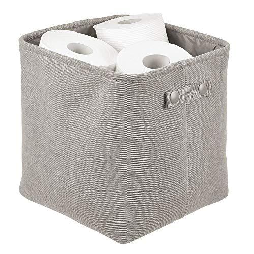 mDesign Organizer da bagno in morbido cotone – Cesto per cosmetici, asciugamani e altri accessori – Pratico contenitore con struttura rigida e manici – grigio chiaro